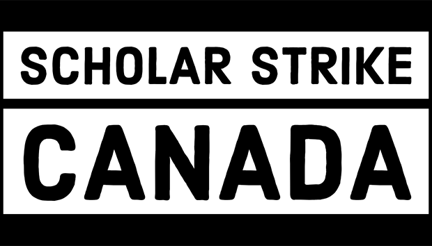 'Scholar Strike Canada' in black and white text on a black background